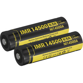 NITECORE IMR Li-Ion - Piles - 14500/650mAh/pack de 2 jaune/noir